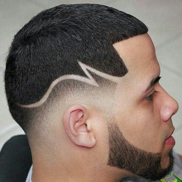 coiffure homme avec dessin